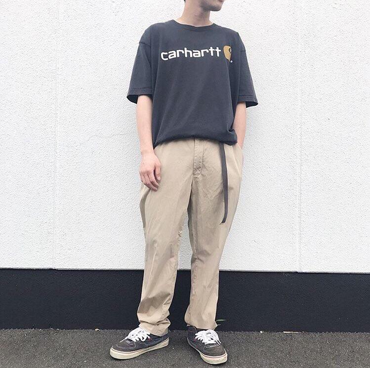 2019年7月23日 | カーハートロゴTシャツとラルフローレンチノパンツの簡単こなれコーデ