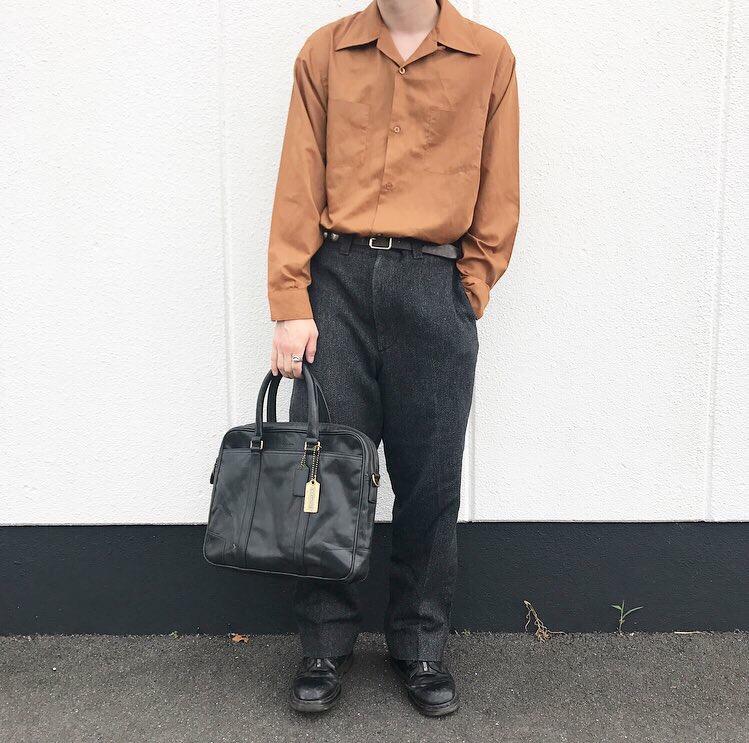ビンテージシャツと90年代ウールリッチのウールパンツで上品な大人コーデ