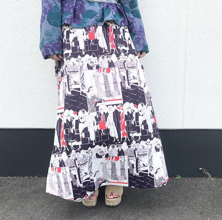 80's vintage long skirt -TALON ZIP-