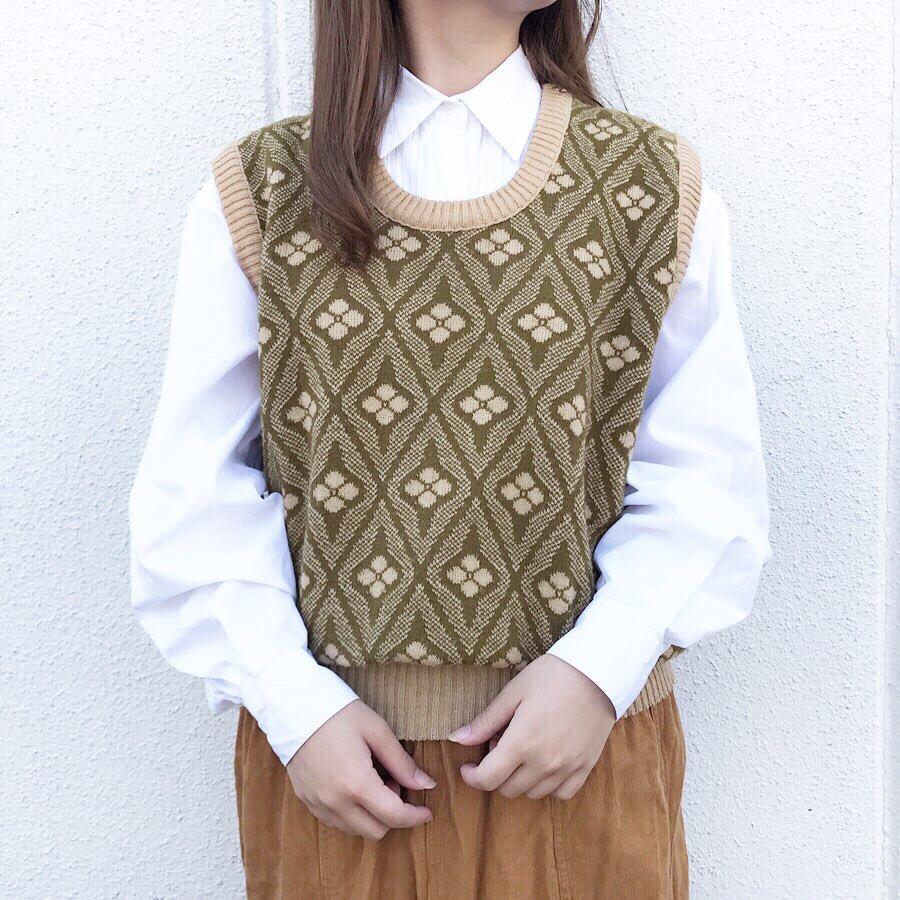 knit vest | 長袖 シャツ 90年代 ドッカーズ 白