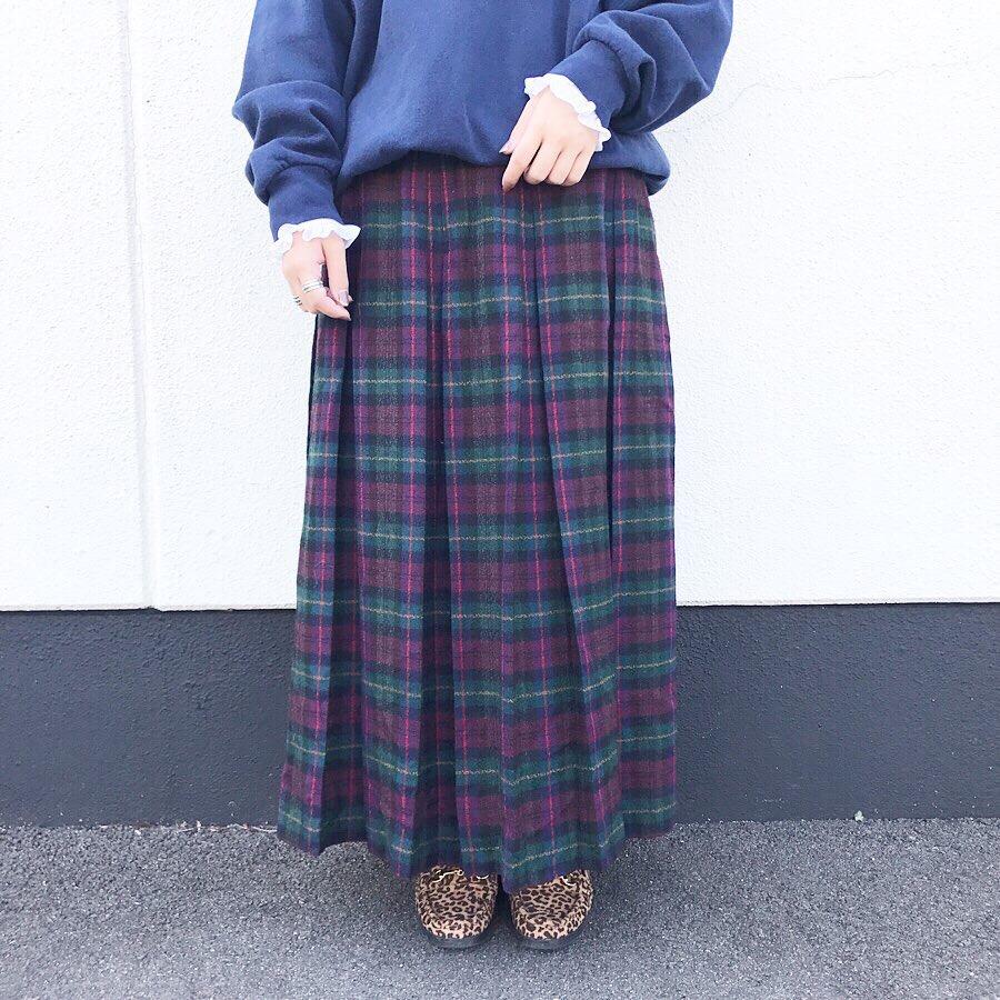 80's wool plaid skirt -TALON ZIP-