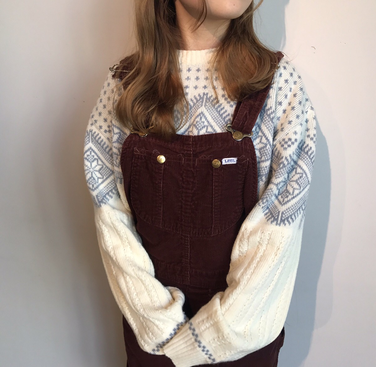 nordic sweater, 90s lee corduroy overall made in USA