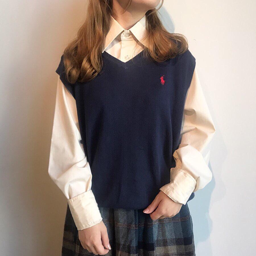 90s ralph lauren logo knit vest, 80s L/S plain shirt