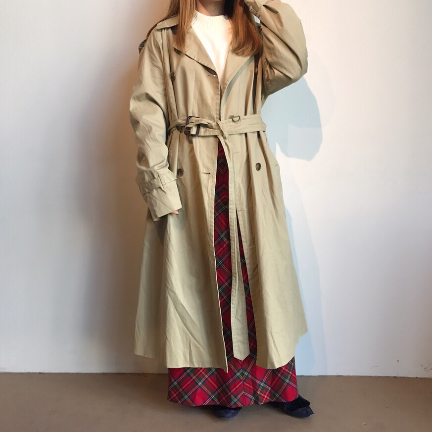 90s mockneck sweater made in USA | 90s wool plaid skirt made in USA | brooks brothers trench  coat