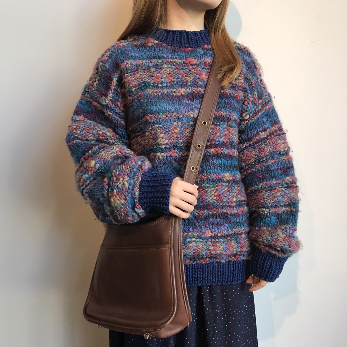 90s rainbow sweater, 90s dot skirt made in USA, old coach shoulder bag made in USA