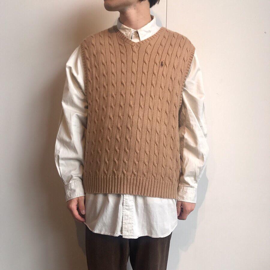 90s ralphlauren cotton knit vest, 90s nautica L/S shirt
