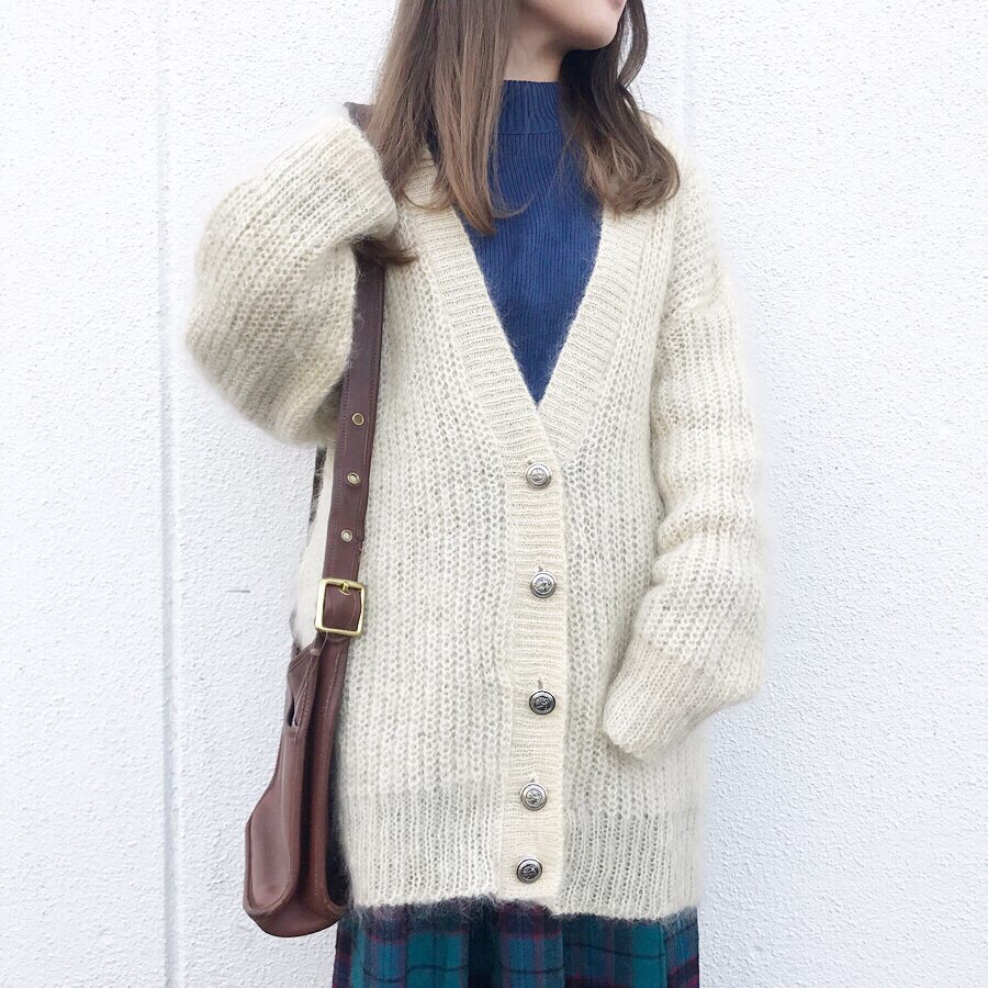 90s mohair knit cardigan made in USA | 90s high-neck sweater made in USA  dead stock