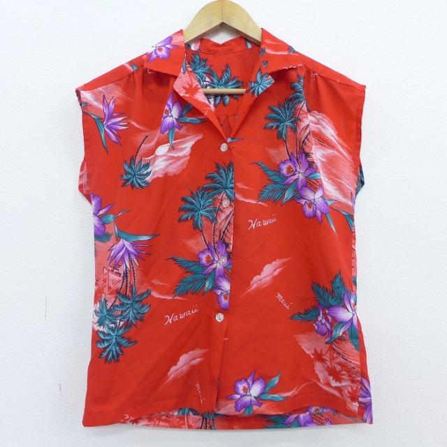赤のアロハシャツ ポリ素材