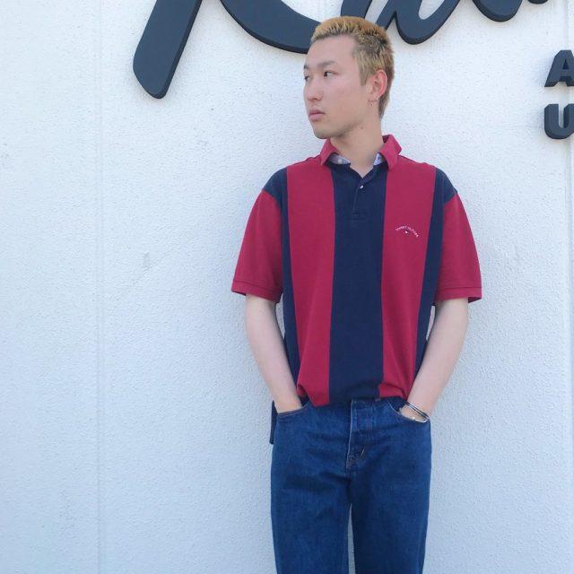 古着ポロシャツのプレッピーコーデ